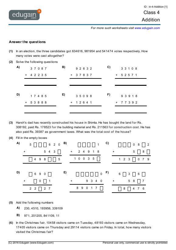 Math Worksheets Grade 7 Math Worksheets Pdf Printable – Maths Worksheets for Class 7