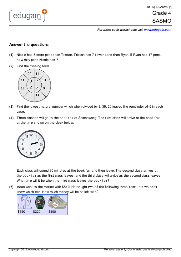 Printables Worksheets Online grade 4 sasmo printable worksheets online practice tests sasmo