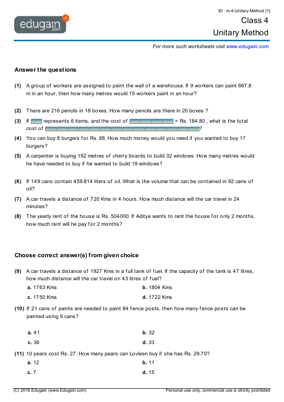 math worksheet : grade 4 math worksheets and problems unitary method  edugain  : Mental Maths Worksheets For Class 5