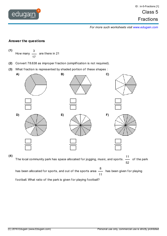 math worksheet : grade 5 math worksheets and problems fractions  edugain singapore : Math Worksheet Grade 5