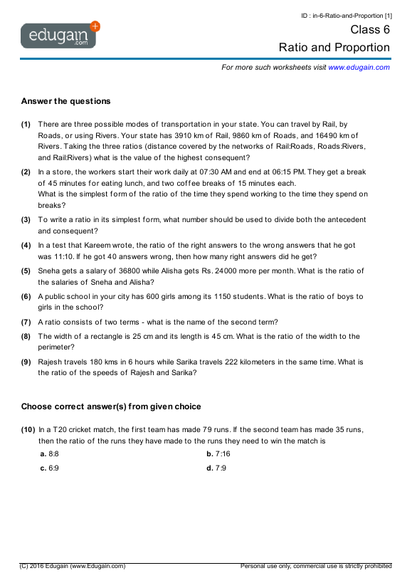 Grade 6 Math Worksheets and Problems Ratio and Proportion – Proportions Worksheet Pdf