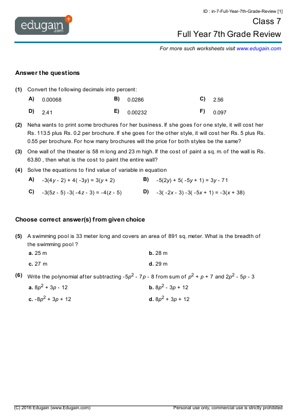 Free Worksheets For 7th Graders Math Worksheet Templates – Grade 7 Math Worksheets Printable