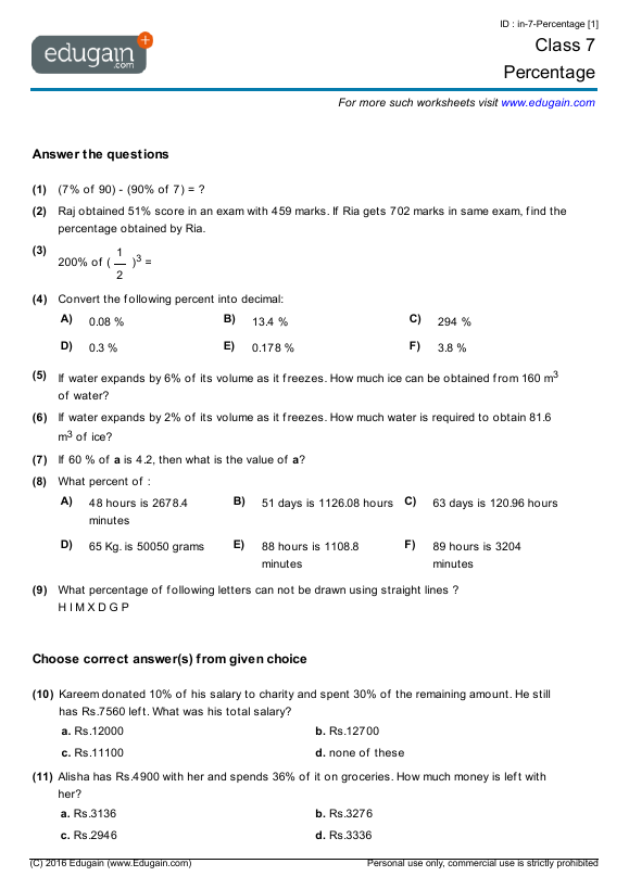 Grade 7 Math Worksheets and Problems Percentage – Singapore Math Worksheets