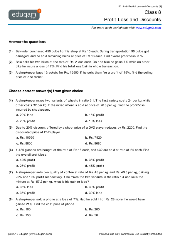 Grade 8 Math Worksheets and Problems ProfitLoss and Discounts – 8th Grade Printable Math Worksheets